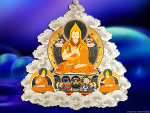 Tsongkhapa and his two main disciples