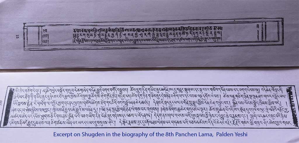 Excerpt on Shugden in the biography of the 8th Panchen Lama, Palden Yeshi