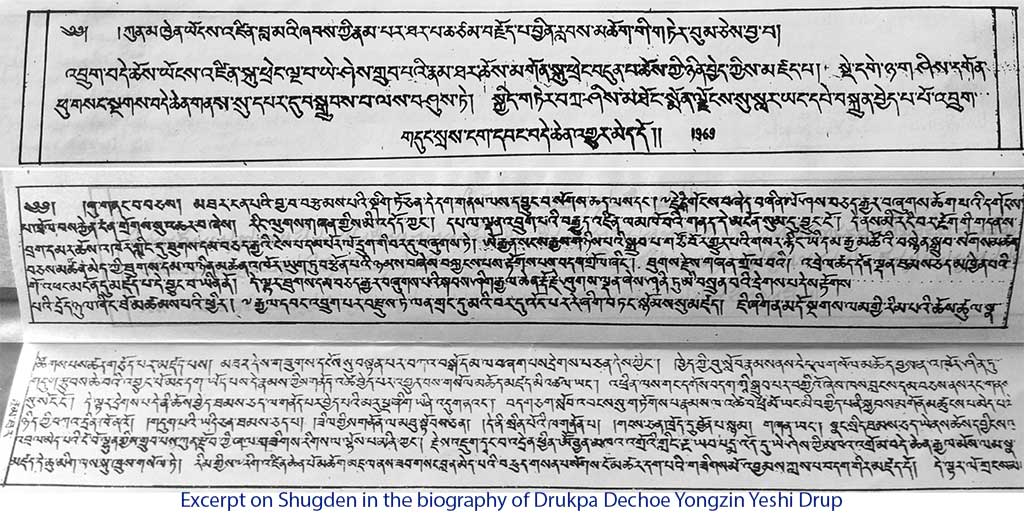 Excerpt on Shugden in the biography of Drukpa Dechoe Yongzin Yeshi Drup