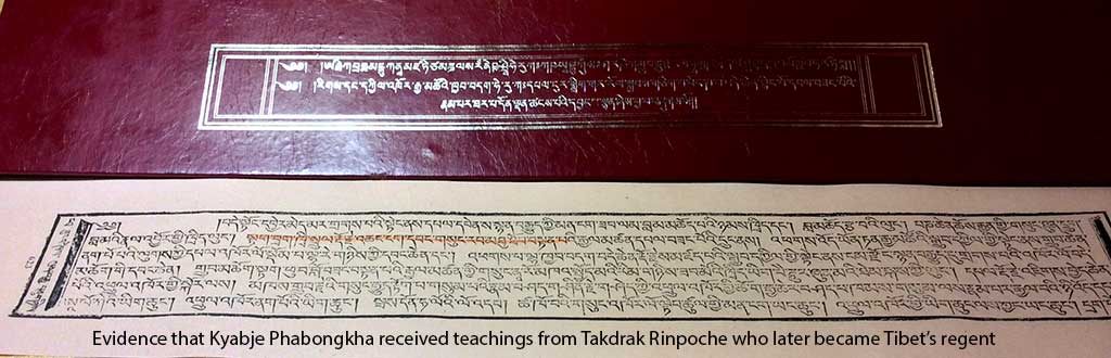 Evidence that Kyabje Phabongkha received teachings from Takdrak Rinpoche who later became Tibet's regent